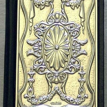 Vintage Art Nouveau Style 925 Sterling Silver Fronted and Black Leather Address / Telephone Book, Hallmarked for Sheffield 1992 (ref: 2069)
