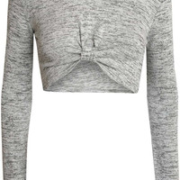 Tiana Knot Front Long Sleeve Crop Top in Grey