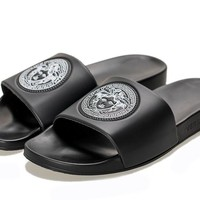 "New Arrival VERSACE Classic ""Trible Black"" MEN WOMEN Slide Sandals"