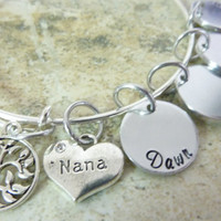 Mother's Day Nana bracelet Tree of Life Grandma Personalized Bracelet Expandable Hand stamped Jewelry