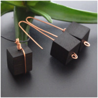 Copper and Wood Jewelry Set