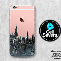 Hogwarts Castle Clear iPhone 6s iPhone 6 iPhone 6 Plus iPhone 6s Plus iPhone 5c iPhone 5 SE iPhone 7 Plus Harry Potter Castle School Towers