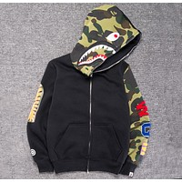 BAPE street fashion camouflage sleeve stitching plus velvet hooded loose sweater F-A-KSFZ Black