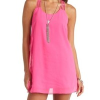 Neon Strappy Racerback Shift Dress by Charlotte Russe - Bright Pink