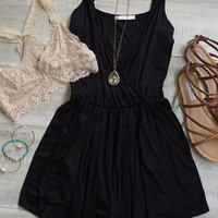 Faith Plunging Neckline Romper - Black