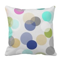 Multicolor Spotlight Polka Dots Throw Pillow