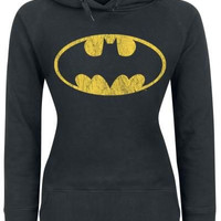 Black Batman Logo Print Long Sleeve Hooded Hoodie