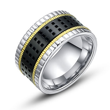 Stainless Steel Spinner Square and Milgrain Pattern Ring