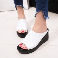 2017 years women Summer Sandals women's Pure color Fish mouth sandals Fashion leisure Trifle sandals