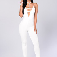 Stuck in the Web Jumpsuit - Ivory