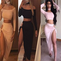 New product long-sleeved sexy slim two-piece nightclub irregular dress