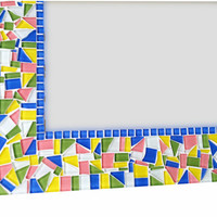 Large Mosaic Mirror in Pink Blue Green Yellow - Made to Order