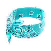 Mint Green Paisley Bandana 3 in 1 Headwrap