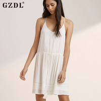 GZDL Women Ladies Casual Loose Strappy Backless Summer Dresses Boho Hippie Beach Mini Dress Sundress Vestidos De Fiesta CL2760