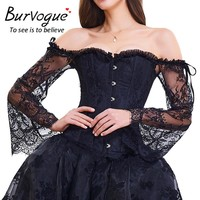 Burvogue New Sexy Vintage Steampunk Corset Floral Lace Overbust Gothic Corset Women Satin Lace up Corset and Bustier Tops