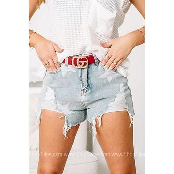 Always The Star Distressed Denim Shorts