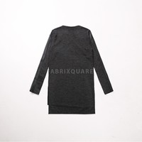 Mens Unbalance Leather Panel Sleeve Extended Long Tee at Fabrixquare