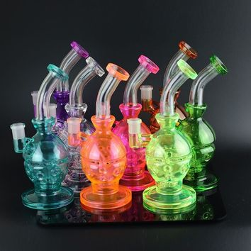 Glass Bongs Water Pipes Recycler Filter Percolators Smoking Two functions   Hookah Faberge Egg Waterpipe with birdcage perc 14.5mm