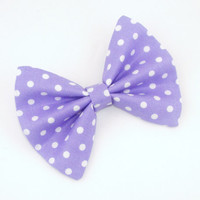 Spring Purple Hair Bow with Purple Lavender Polka Dots with Hair Clip Rockabilly Pin up Teen Woman