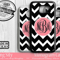 Monogrammed Galaxy S5 S6 Edge Case S3 S4 Tough Galaxy Note 2 3 4 Cell phone case Black Chevrons Zig Zag Stripes Pink Personalized Custom