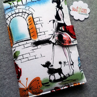 Kindle Fire cover, eReader Cover, Book Style, Paris Style  ..Made to order