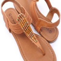 TAN FAUX LEATHER EMBELLISHED SLING STRAP THONG SANDALS