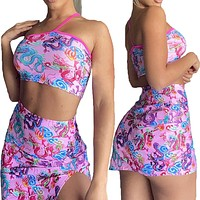 2020 New Products Women's Sexy Printed Wrapped Chest Short Skirt Shorts Two Piece Set