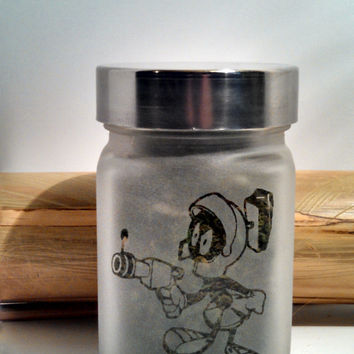 Marvin the Martian Etched Glass Stash Jar- Retro Gift - Free UPGRADE to Priority Mail within the US