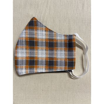 3 Layer Fall Plaid Full Face Cup Shaped Mask | Cloth Mask with Non Latex Elastic