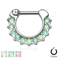 Opalites Paved 316L Surgical Steel Septum Clicker