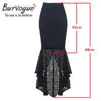 Burvogue Long Mermaid Skirt Stylish Steampunk Bodycon Long Skirts Fishtail Lace Slim Vintage trumpet Skirts for Women