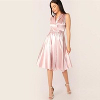 Shawl Collar Wrap Ruffle Hem Belted Dress Women Glamorous Pink Sleeveless A Line Party Dress Solid Midi Dress