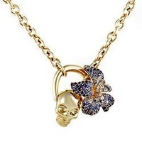 Gucci Flora Yellow Gold Sapphire Pave Skull Pendant Necklace