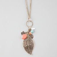 Full Tilt Leaf & Stones Charm Necklace Antique Gold One Size For Women 25872162301
