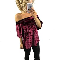 Sexy Velvet Off Shoulder Slash Neck Blouse Shirt Women Short Sleeve Blouse Top 2017 Spring Casual Shirt Clothes Plus Size