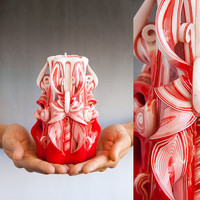 Carved candles - Red candle - Decorative candle - Christmas gift