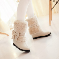 Fur Bow Women's Snow Boots Wedge Heel 4673