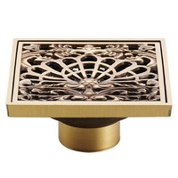 Antique Copper Anti-Odor Square Peacock Shows Bathroom Accessories Sink Floor Shower Drain Cover Luxury Sewer Filter K-8851