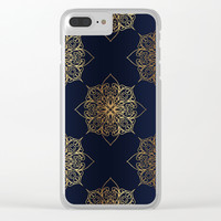 Gold and Navy Damask Clear iPhone Case by Tanyadraws