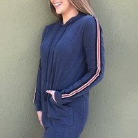 Racing Stripes Hoodie Dress- Blue