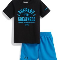 Infant Boy's Under Armour 'Prepare for Greatness' HeatGear T-Shirt & Mesh Shorts