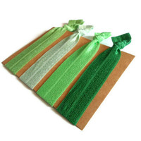 Elastic Hair Ties Green Shades Yoga Hair Bands