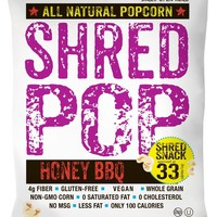 SHRED POP Honey BBQ Popcorn 1 Ounce Bags - Pack of 24
