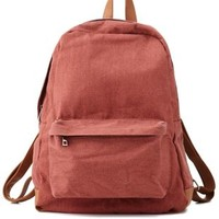 Red Combo Faux Leather-Trim Canvas Backpack by Charlotte Russe