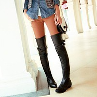 Buckle Belt Women Thigh High Boots Shoes 3893