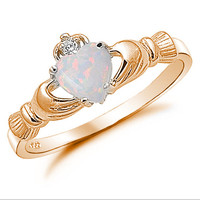 Claddagh Ring Rose Gold 925 Sterling Silver 0.75 Carat Created Fiery Opal CZ accent Promise Wedding Engagement Anniversary Ring Love Gift