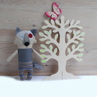 Wolf Doll,Handmade Baby Toy, Wolf, Soft Rag Wolf doll,First Gift for Baby,Gift for Toddler Boy,Baby Shower gift,Rag Animal Toy,Stuffed Toy