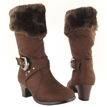 Kids Mid Calf Boots Suede Fur Cuff Ankle Wrap Buckle Brown