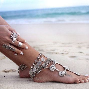 Flower Child Silver Coin Anklet Adjustable Handmade Gypsy Beachy Ethnic Turkish Bohemian (Size: 38 g, Color: Silver) = 1928707844