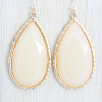 Ecru Large Teardrop Earrings